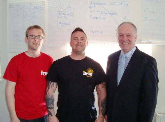 Pictured left to right are Sean Reddaway - Personal Development Coach, Be Strong Director - Darren Armstrong and David Crausby MP.